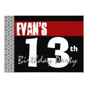 13th Birthday Party Modern Red Black and White 2C Card