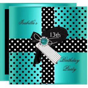 13th Birthday Party Polka Dots Teal Blue Card
