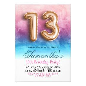 13th Birthday Pink Blue Gradient Invitation