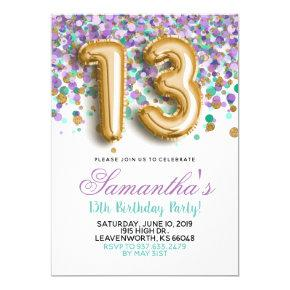 13th Birthday Purple Teal Confetti Invitation
