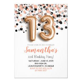 13th Birthday Rose Gold Confetti Invitation