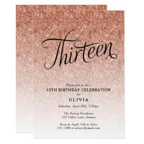 13th Birthday Rose Gold Ombre Glitter Invitations