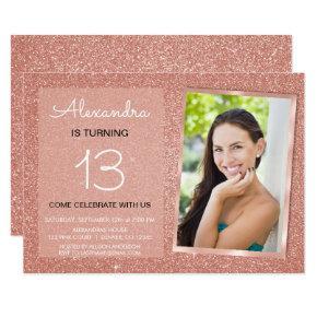 13th Birthday Sparkle Rose Gold Blush Pink Photo Invitation