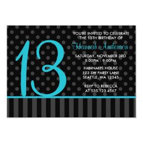13th Birthday Teal Blue Black Polka Dot Stripes Invitations