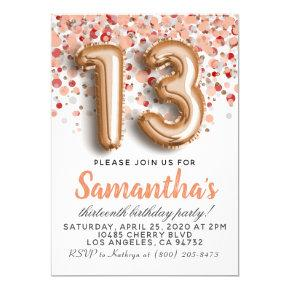 13th Rose Gold Birthday Invitation
