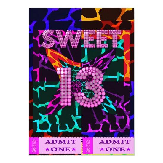 13th Sweet 13 Birthday Party Mixed Animal Print Invitations