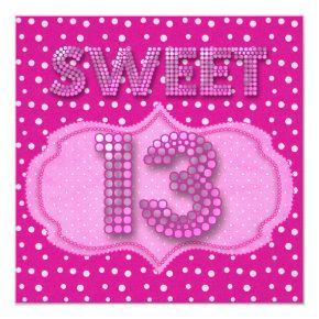 13th Sweet 13 Birthday Party Pink Polka Dots Invitations