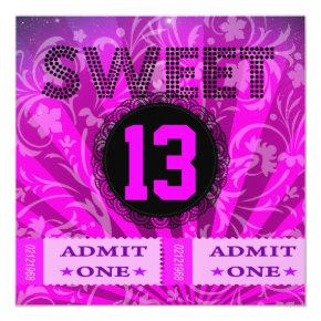 Young Girls 13th Party Birthday Invitations Candied Clouds
