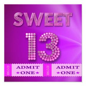 13th Sweet 13 Birthday Party Tickets Fun Invitation