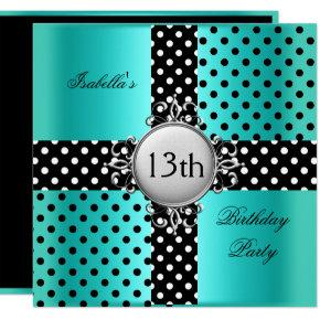13th Teen Birthday Party Teal Blue Black Polka Dot Card