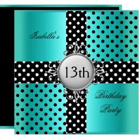 13th Teen Birthday Party Teal Blue Black Polka Dot Invitation