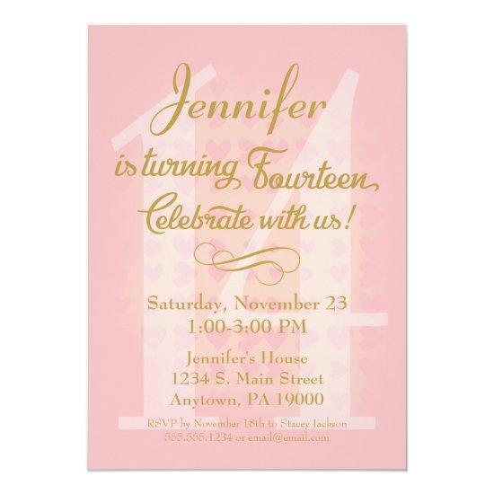 14th birthday invitations girls pink gold hearts candied clouds 14th birthday invitations girls pink gold hearts filmwisefo