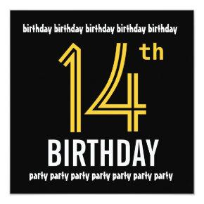 14th Birthday Party Modern Gold And Black Invitation