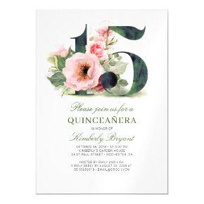 15th Birthday Floral Quinceanera Magnetic Invitation