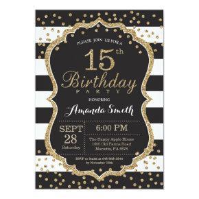 15th Birthday Invitation. Black and Gold Glitter Invitation