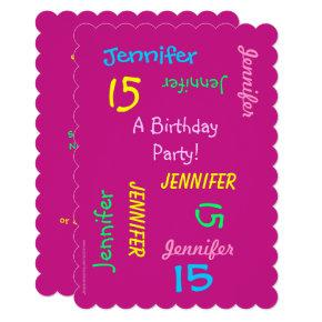 15th Birthday Party Hot Pink Personalized, Names Invitation