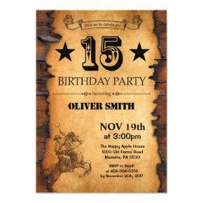 15th Western Birthday Invitation