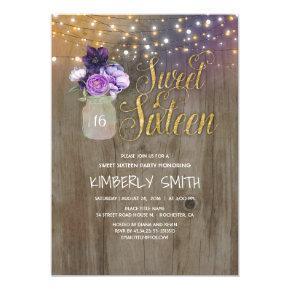 16 Birthday Party - Sweet Sixteen Mason Jar Purple Card