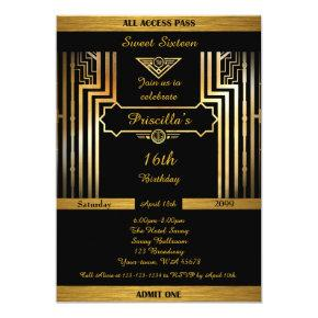 16th,Birthday 16th, Gatsby style, black & gold Invitations