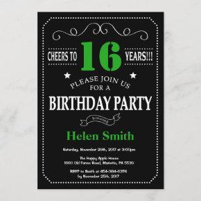16th Birthday Black and Green Chalkboard Invitation