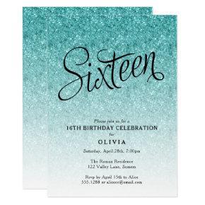16th Birthday Blue Ombre Glitter Invitations