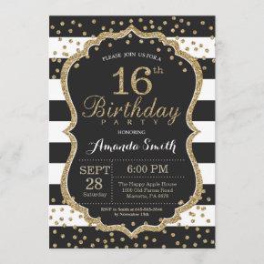 16th Birthday Invitation. Black and Gold Glitter Invitation