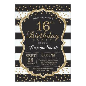 16th Birthday Invitations. Black and Gold Glitter Invitations