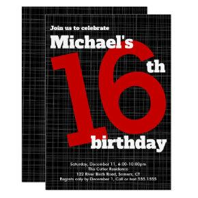 16th Birthday Invitation Black with Red Accent,