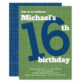 16th Birthday Invitation Blue with Green Accent,