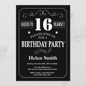 16th Birthday Invitation Chalkboard