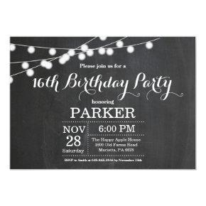 16th Birthday Invitation Chalkboard