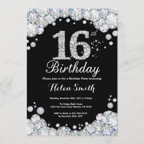 16th Birthday Invitation Chalkboard Silver Diamond