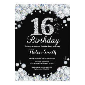 16th Birthday Invitation Chalkboard Silver Diamond