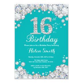 16th Birthday Invitation Teal and Silver Diamond