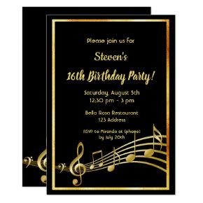 16th birthday party black and gold mustic notes invitation