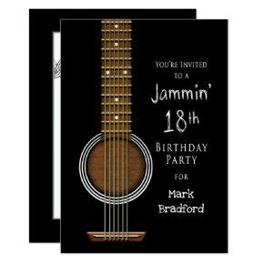 16th Birthday Party Invitation, Acoustic Guitar Invitation