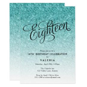 18th Birthday Blue Ombre Glitter Invitations