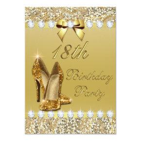 18th Birthday Classy Gold Heels Sequins Diamonds Invitation