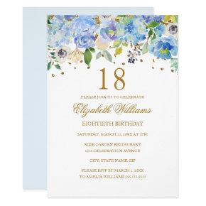 18th Birthday Elegant Blue Gold Floral Invitation