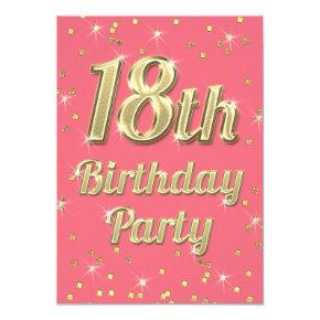 18th Birthday Gold Bling Typography Confetti Pink Invitation