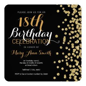 18th Birthday Gold Faux Glitter Confetti Black Invitation
