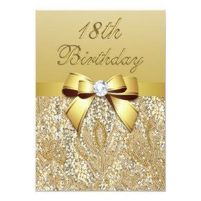 18th Birthday Gold Faux Sequins and Bow Card