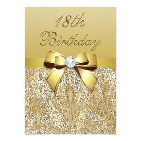 18th Birthday Gold Faux Sequins and Bow Invitation