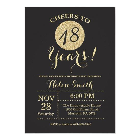 18th Birthday Invitations Black and Gold Glitter
