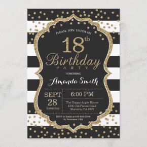 18th Birthday Invitation. Black and Gold Glitter Invitation