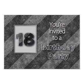 18th Birthday Invitation, Cool Gray/Black Stripes Invitation