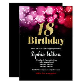 18th birthday invitation elegant glitter pink red
