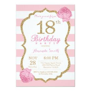 18th Birthday Invitation Pink and Gold Floral