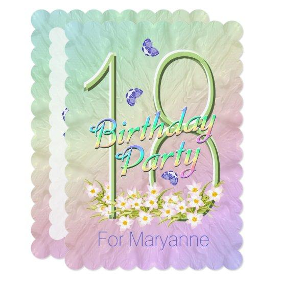 18th Birthday Party Butterfly Garden Invitations Candied Clouds