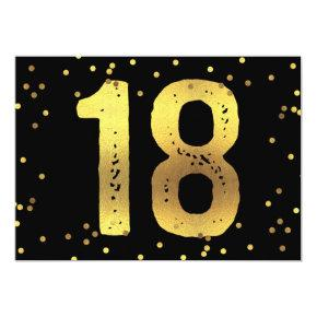 18th Birthday Party Faux Gold Foil Confetti Black Card